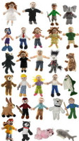 Charming PEOPLE and ANIMAL plush finger puppets, sold by the case at deep discount