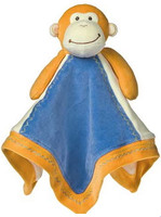 Blue & gold Monkey baby blanket made from 100% organic cotton