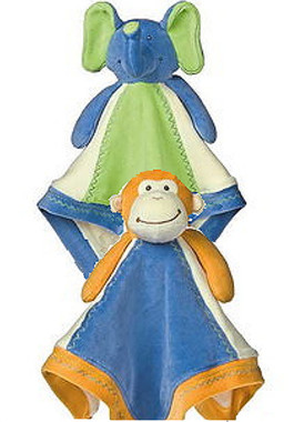 """Blue Elephant & Gold Monkey Blanket Toys - 15"" x 15"" """
