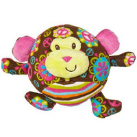 """Brown Multicolored Stuffed Toy Monkey - 5½"" wide"""