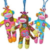 """Colorful Sock Monkey Stuffed Animal Clip-Ons - 5½"" high"""