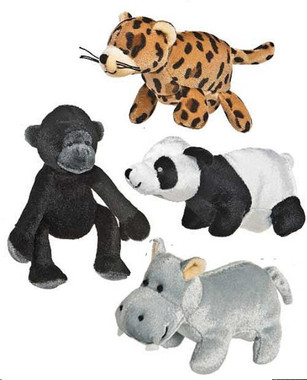 Leopard, gorilla, panda and hippo stuffed finger puppets at deep discount
