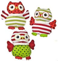 Green and red stuffed Owls, perfect for Christmas, sold by the case at below wholesale