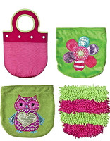 Pink & green plush purses, sold in bulk at below wholesale