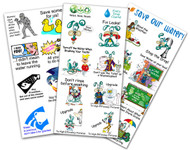 Temporary Tattoos | 3 Pack Sheets Water Saving Messages - All Ages Conservation and Education
