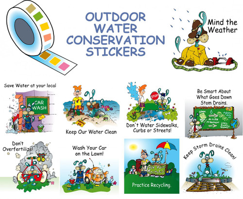 colorful stickers on a roll with outdoor water saving message