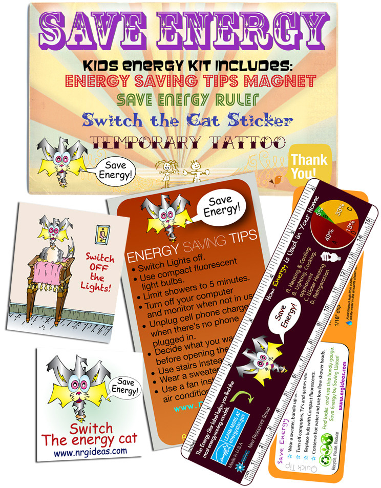 Kiddy Kit Energy Saving fun kit, stickers, tip magnet, tattoos ...