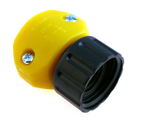 Female end hose repair part for repairing leaky hoses.
