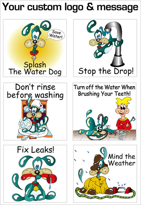 Colorful Stickers On A Sheet With Water Saving Message