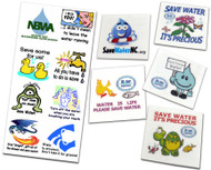 Custom Fun Water Saving Message Temporary Tattoos | Conservation & Educational  product for all ages!