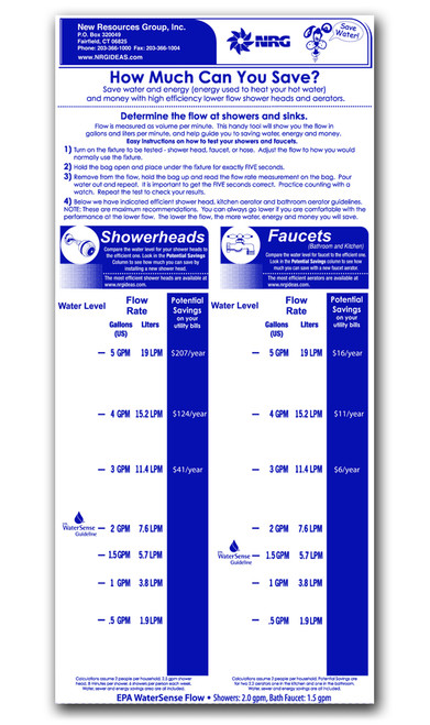 Custom imprinted flow gauge bag measuring the flow rate of shower heads and faucets.