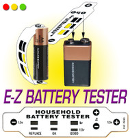 Household Battery Tester Flexible Strip Lights up to indicate Battery Strength  | Test before you replace!