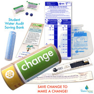 Student Water Audit Water Bank Saving Eco-Kit - Flow Gauge Bags | Leak Detection | Drip Gauge | Bookmark | Water Ruler