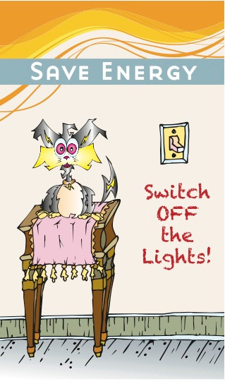 Switch The Cat Colorful Sticker With Energy Saving Message