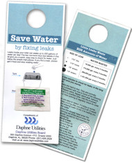 Custom Door hanger  Blue Leak detecting Dye Tablets on a Card | Full color print with instructions