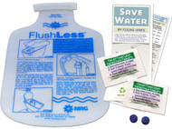 Bathroom Toilet Kit - Flush Less Low Flush Displacement Bag and  Leak Detecting Dye Tablets with Instructions