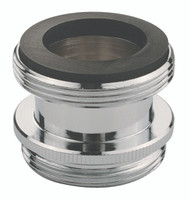 "Faucet adapter for converting male 15/16"" threads to male 55/64."