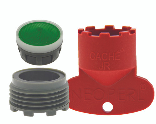 1.5 gpm Moen adapter set needed for certain Moen junior sized Cache faucets.  Includes Adapter ring, aerator insert, and junior sized removal tool.