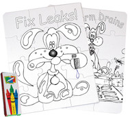 Coloring puzzles, featuring Splash the water dog! Great gift idea and fun educational activity for kids. Learn about water conservation.
