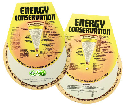 Helpful tips and facts about energy conservation on a fun wheel that you can put on your fridge, or anywhere else, to serve as a handy reminder and source of info!