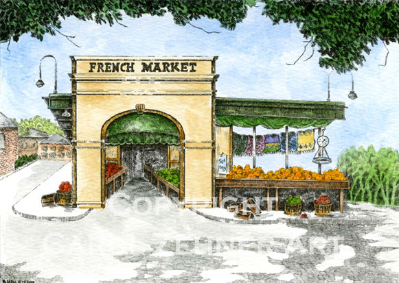 French Market Watercolor Art