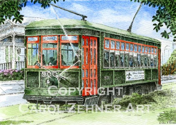 New Orleans Streetcar Watercolor Art