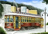 Canal Street Car Watercolor Lithograph