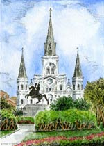 St. Louis Cathedral Watercolor Lithograph