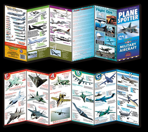 US MILITARY AIRCRAFT PLANESPOTTER  The US MILITARY AIRCRAFT PLANE SPOTTER guide commemorates the achievement of US military aviation in the service of US interests around the world. The recent centennial anniversary of powered flight is the perfect time to reflect on how far aviation has advanced, and nowhere is this more evident than in our remarkable flying forces.  Features include:      Twelve panel fold-out design.     Exciting full color graphics.     Relative sizes chart.     Specs detailing branch, manufacturer, speed, range,and ceiling.     Dozens of tips for spotting most combat aircraft.     Definitions panel for all that technical lingo.     Photo gallery of remarkable flight operations.