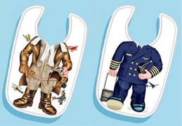 Pilot Ace and Airline Pilot Toddler Bib Set bib-set