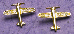 Gold Crystal Airplane Earrings  JEP-CAG