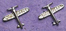 Silver Crystal Airplane Earrings JEP-CAS