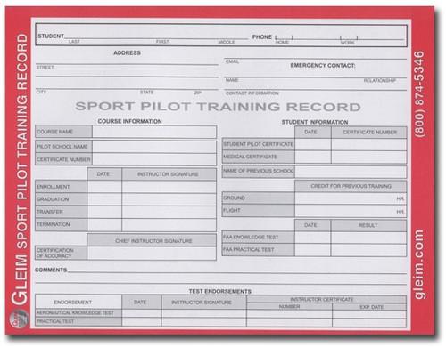 Gleim Sport Pilot Training Record book  (G-SP-TR)-SkySupplyUSA