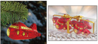 Shatterproof Acrylic Red Jetliner Plane Ornament - 2 Pack ORN-RED JETLINER