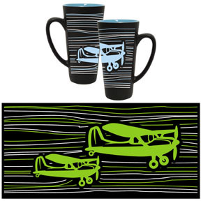 Black and White Airplane Funnel Mug with Blue  MG-BK Green is no longer available.