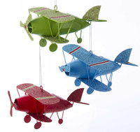 Metal Biplane Ornament or-mbp