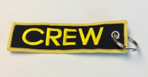 """""""Crew"""" Black & Gold Embroidered Keychain KCE-Crew-G"""