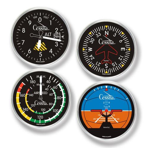 Cessna 4-Piece Round Acrylic Coaster Set  CES-9010 SkySupplyUSA.com