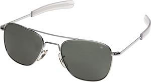 American Optical Original Pilot 52mm Silver Sunglasses with Grey Polarized Lens  AO32118