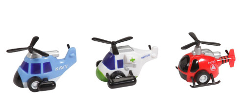 """These fun pull back and go helicopters measure 2.25"""" x 1.5"""". 3 assorted colors. PBG-HELI"""