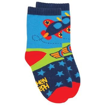 Keep your tot's tootsies toasty and stylish in a pair of Stephen Joseph Toddler Socks. Whether your child is just mastering their first steps, or is keeping you on your toes already, you can rely on the non-slip, non-skid soles to help avoid accidental slips and tumbles. Plus, kids love the colorful designs that add a splash of fun to any outfit.        Non-slip toddler socks     No-skid rubber traction sole     Knitted cotton, nylon, and spandex mix     Available in: Small (2T), Medium (3T), and Large (4T)     Great patterns for any outfit