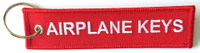 """Embroidered """"Airplane Keys"""" keychain Dimensions: 5"""" x 1 1/4"""""""
