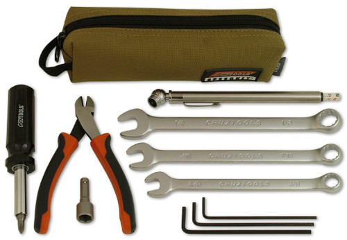 "Experienced pilots know the importance of carrying tools for basic maintenance and repairs. Until recently, they had to assemble their own kit or simply do without. Our PTK1 is the ultimate Pilot's Tool Kit, but for those with space, weight, or budget concerns, our new SPEEDKIT Aero is for you. It provides the most essential tools in an affordable and compact package.   Included:      three combination wrenches     three hex wrenches     5-in-1 screwdriver     11/32"" nut driver     tire pressure gauge     our highly competent diagonal cutters.    Everything is housed in a durable textile pouch with extra room for additional items as needed. Weighing in less than a pouch and measuring only 7"" x 2"" x 2"", even Cub owners can fit a place for the SPEEDKIT."