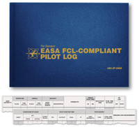 The EASA FCL-Compliant Pilot Log meets European Aviation Safety Agency record keeping requirements and complies with Flight Crew Licensing rules, EU-FCL.050. A profile page in the front of the logbook provides room to include personal info such as licenses held, date issued, license number, ratings, and aircraft type. Left facing page entry columns include date, departure and arrival (place and time), aircraft make, model, registration, PIC, single time, multi-time, total flight time, and day/night landings. Right page entry columns include conditions of flight (night, IFR), pilot function time (PIC, co-pilot, dual, flight instructor), and date, type, and time of FSTD sessions. The pages in the back of this logbook include tables for licenses, ratings and types, proficiencies, reviews and medicals, ground instruction log, classification of pilot in command time, make and model of aircraft and number of hours in each. ISBN: 978-1-61954-623-3