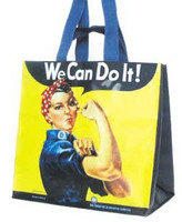 "17"" L x 10.25 w x 16.25 H Blue handle and shoulder handles. This eco-friendly reusable tote bag features the iconic image of Rosie the Riveter!"
