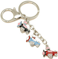 Two assorted color combinations for this 3 Charm Dangler key Chain.