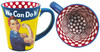 This 11 oz. Mug is colored on every surface inside and out. Rosie image on both sides with a yellow background and blue handle. A bright red and white Polka Dot pattern on the inside.