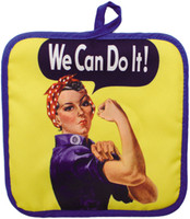 8 x 8 in. Cloth Hot Pad with Rosie The Riveter image in the center.