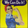 Rosie the Riveter on a 6 x 6in. Ceramic trivet. Cork backing.