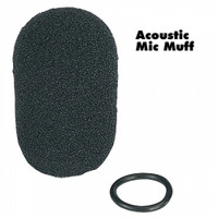 Acoustic mic muff attaches easily and protects the mic from moisture, dirt and debris. Completely washable and hypoallergenic. Includes O-ring retainer.